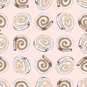Hand drawn seamless pattern with swiss roll