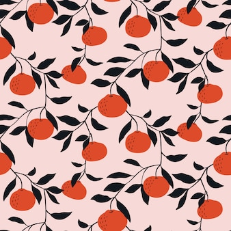 Hand drawn seamless pattern with tangerines.