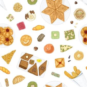 伝統的な東洋の菓子や白い背景の上のおいしいペストリーと手描きのシームレスなパターン