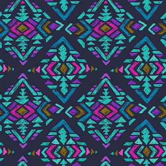Hand drawn seamless pattern with tribal abstract elements