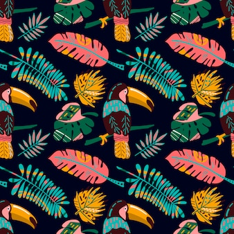 Hand drawn seamless pattern with tropical leaves and tucan.