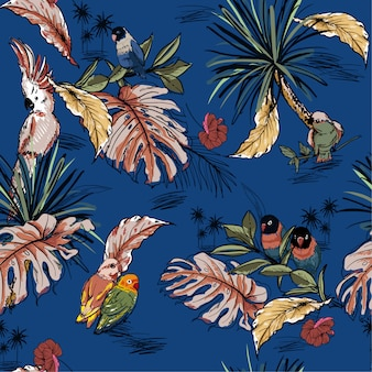 Hand drawn seamless pattern with tropical wild forest