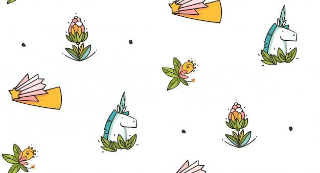 ユニコーン、花、緑の葉が白い背景で隔離の手描きのシームレスパターン