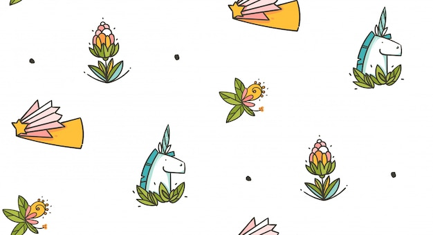Hand drawn seamless pattern with unicorns, flowers and green leaves isolated on white background