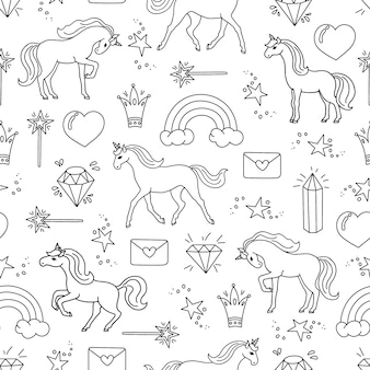 Hand drawn seamless pattern with unicorns.