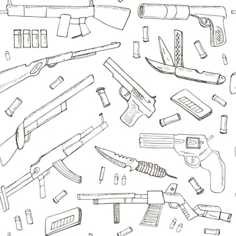 Hand drawn seamless pattern with weapons.
