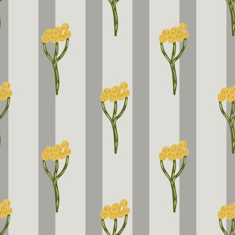 Hand drawn seamless pattern with yellow yarrow ornament. grey striped background. botanic shapes. graphic design for wrapping paper and fabric textures. vector illustration.