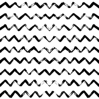Hand drawn  seamless pattern with zigzag stripes.