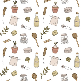 Hand drawn seamless pattern of zero waste life. eco style. no plastic. go green.