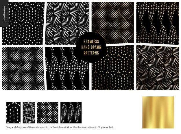 Hand drawn seamless patterns - black