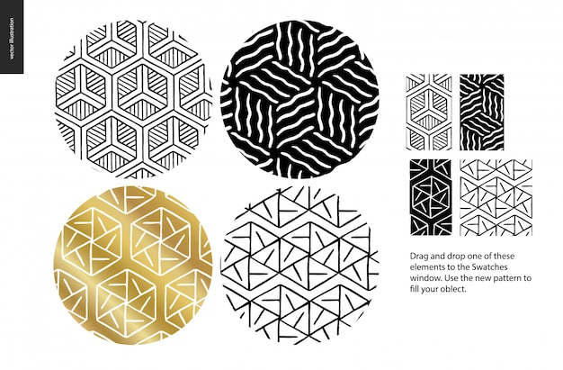 Hand drawn seamless patterns - rounded