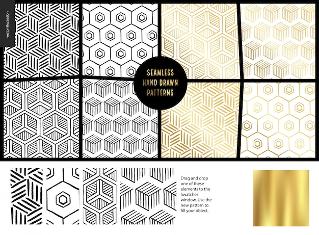 Hand drawn seamless patterns set