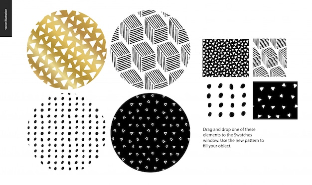 Hand drawn seamless patterns set