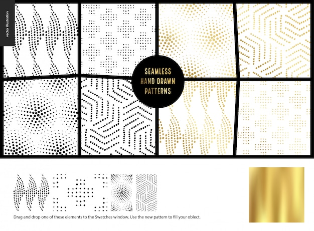 Hand drawn seamless patterns - white