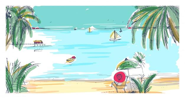 手描きの海辺の風景。デッキチェアとパラソル、砂浜、エキゾチックなヤシの木、地平線上の海や海に浮かぶ帆船があるトロピカルリゾート。カラフルなリアルなイラスト。