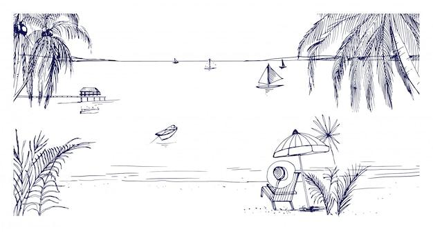 手描きの海辺の風景。