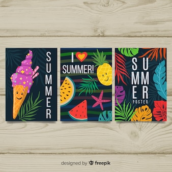 Hand drawn seasonal poster collection