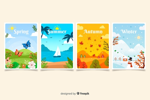 Hand drawn seasonal poster pack