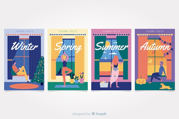 Hand drawn seasonal poster set