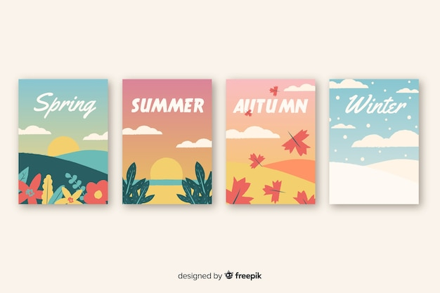 Hand drawn seasonal poster template collection