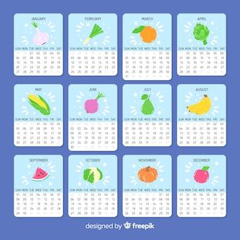 手描きの季節の野菜と果物のカレンダー