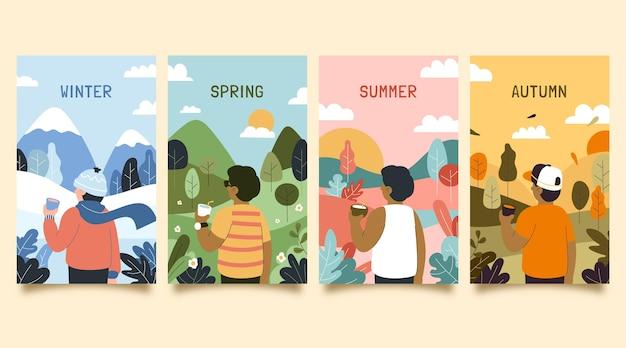 手描きの季節コレクション