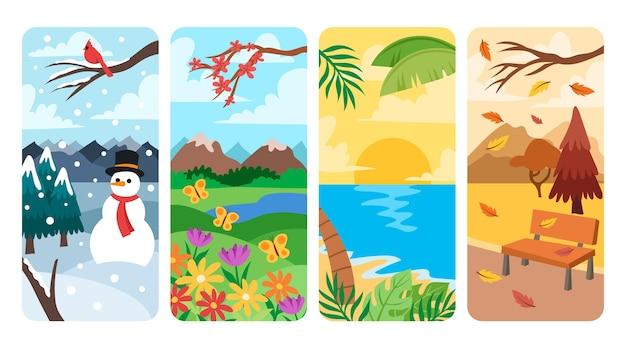 Set di stagioni disegnate a mano