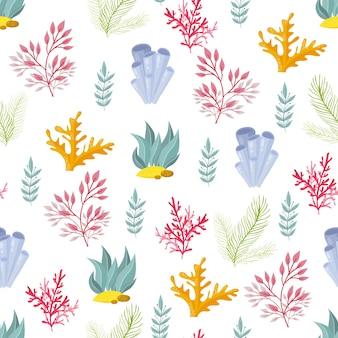 손으로 그린 해초, 산호 원활한 패턴. 바다 식물 배경입니다. 벡터 일러스트 레이 션