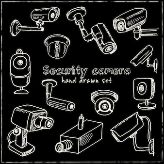 Hand drawn security camera set