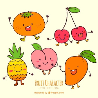 Hand-drawn selection of cute fruit characters