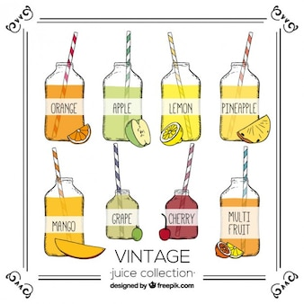 Hand drawn selection of fruit juices in vintage style