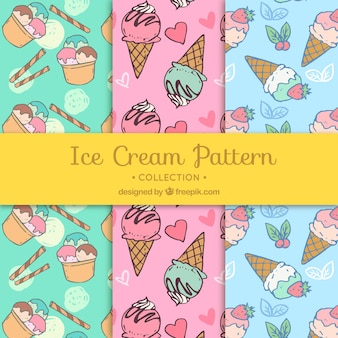 Hand-drawn selection of ice cream patterns