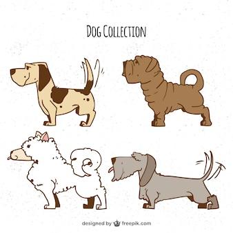 4匹のプロファイルの犬の手描きの選択