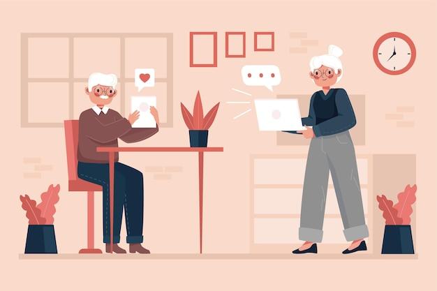 Anziani disegnati a mano che utilizzano la tecnologia