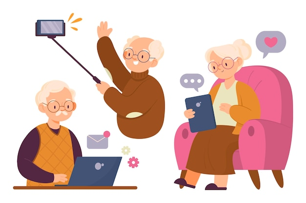기술을 사용하여 손으로 그린 노인