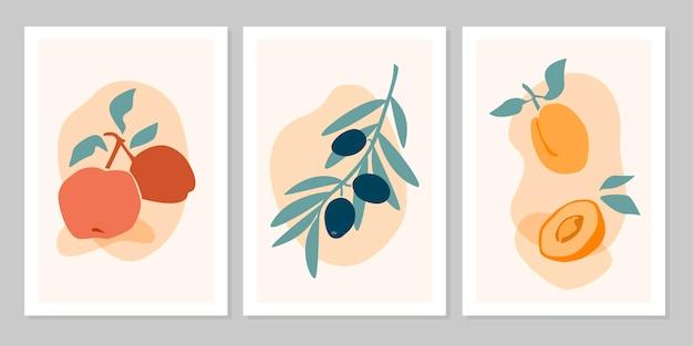 베이지색 배경에 분리된 사과, 올리브, 살구가 있는 손으로 그린 세트 추상 보호 포스터. 벡터 평면 그림입니다. 패턴, 로고, 포스터, 초대장, 인사말 카드 디자인