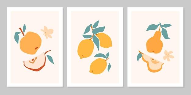 베이지색 배경에 분리된 열대 과일 레몬, 사과, 배, 꽃이 있는 손으로 그린 세트 추상 보호 포스터. 벡터 평면 그림입니다. 패턴, 로고, 포스터, 초대장, 인사말 카드 디자인