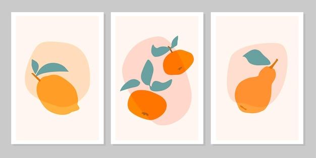 베이지색 배경에 격리된 열대 과일 레몬, 만다린, 배가 손으로 그린 세트 추상 보호 포스터. 벡터 평면 그림입니다. 패턴, 로고, 포스터, 초대장, 인사말 카드 디자인