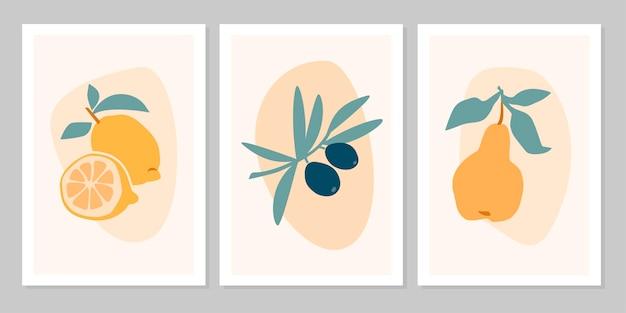 ベージュの背景に分離されたトロピカルフルーツレモン、オリーブ、梨の手描きセット抽象的な自由奔放に生きるポスター。ベクトルフラットイラスト。パターン、ロゴ、ポスター、招待状、グリーティングカードのデザイン