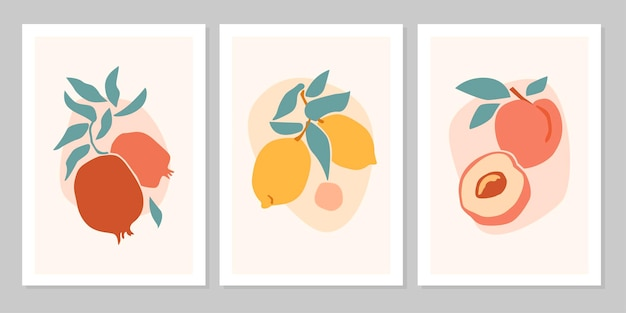 Hand drawn set abstract boho poster with tropical  fruit lemon, pomegranate, peach isolated on beige background. vector flat illustration. design for pattern, logo, posters, invitation, greeting card