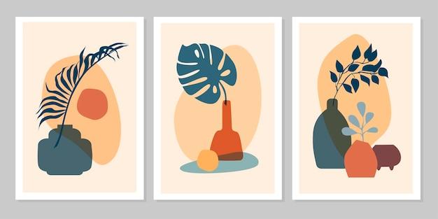 Ручной обращается набор абстрактных бохо плакат с тропическим листом, цветная ваза и форма, изолированные на бежевом фоне. векторная иллюстрация плоский. дизайн для шаблона, логотипа, плакатов, приглашения, поздравительной открытки