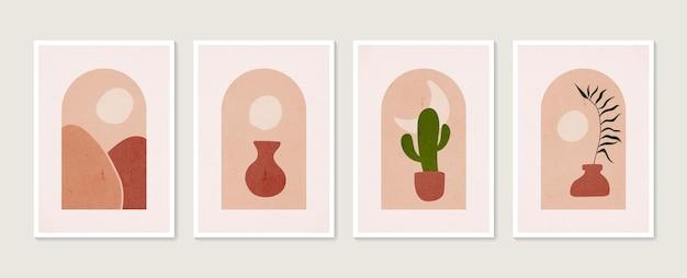 열대 잎 색 꽃병과 모양이 있는 손으로 그린 세트 추상 boho 포스터