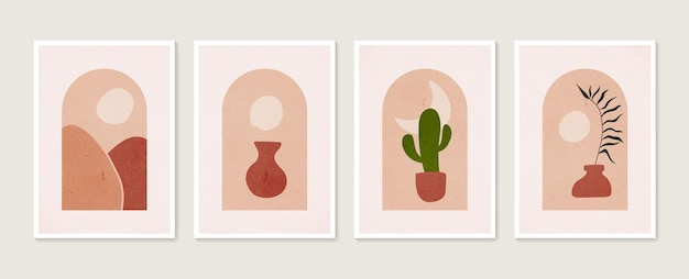 Hand drawn set abstract boho poster with tropical leaf color vase and shape
