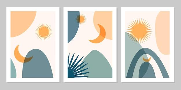 손으로 그린 세트 추상 보호 포스터에는 열대 잎, 태양, 달, 그리고 베이지색 배경에 분리된 모양이 있습니다. 벡터 평면 그림입니다. 패턴, 로고, 포스터, 초대장, 인사말 카드 디자인