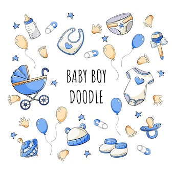 Hand drawn set of baby elements icons in doodle style