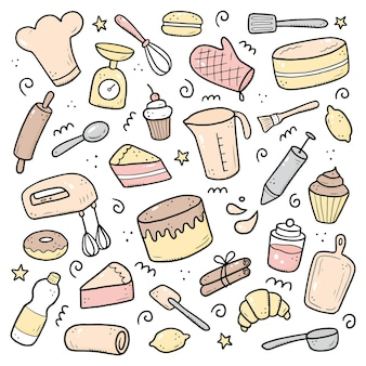Hand drawn set of baking and cooking elements