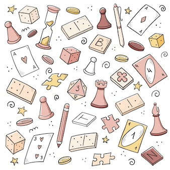 Hand drawn set of board game element