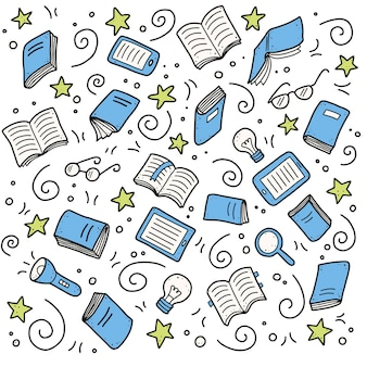 Hand drawn set of book doodle elements, e-book, lamp, education concept