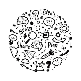 Hand drawn set of brainstorm, idea, brain elements