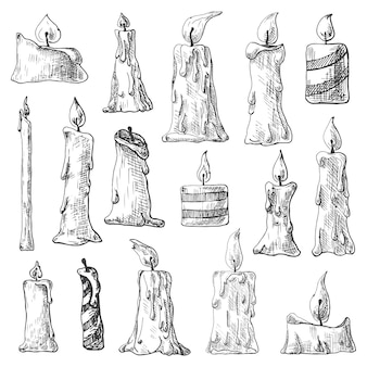 Hand drawn set of burning candles.